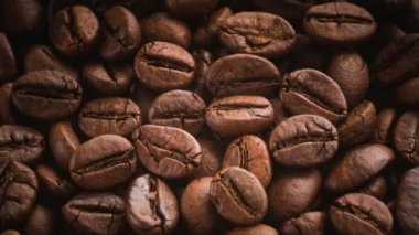 Roasted coffee beans rotating. — Stock Video