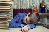 Tired school boy — Stock Photo