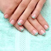 Nail art with glitter blue nail polish — Foto de Stock