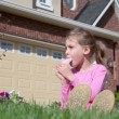 Little girl eats ice cream — Stock Video #60007045
