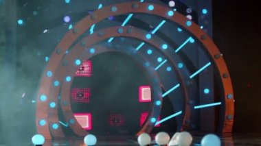 Round gate on stage — Stockvideo
