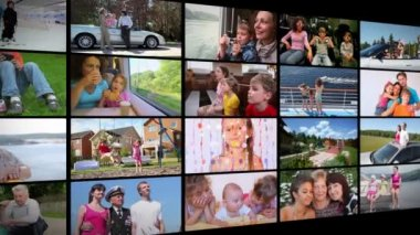 Happy family collage — Stock Video
