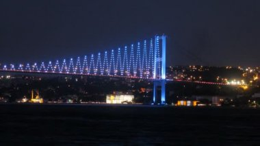 Ships float near Bosporus Bridge — Wideo stockowe