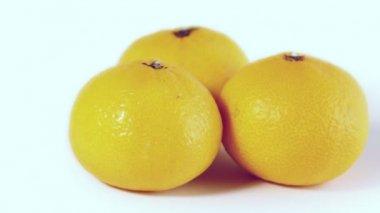 Three oranges spins — Stock Video