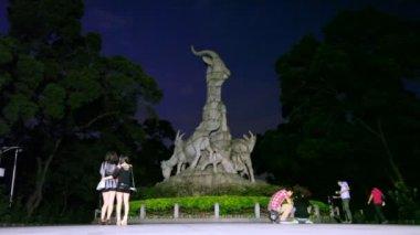 Ram sculpture in Yuexiu park — Stock Video