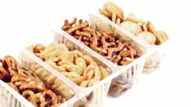 Plastic container with different cookies — Stock Video