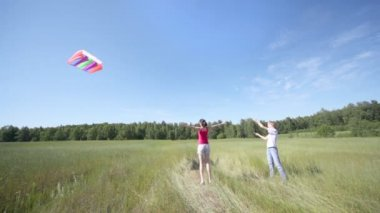 Guy and girl with kite — Stock Video