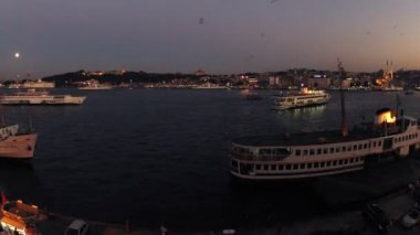 Ships float in bay Golden horn — Stock Video
