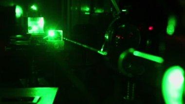 Glisten beam of green laser — Stock Video