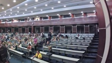 Young people communicate in auditorium on  Youth Voice — Stok video