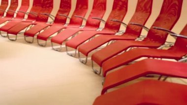 Row of red comfortable seats — Stock Video