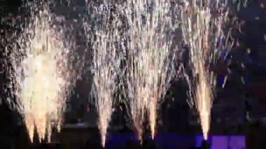 Fireworks near stage during concert — Stock Video