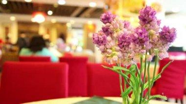 Artificial purple lilies — Stock Video