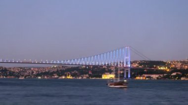 Ships float near Bosporus Bridge — Stockvideo