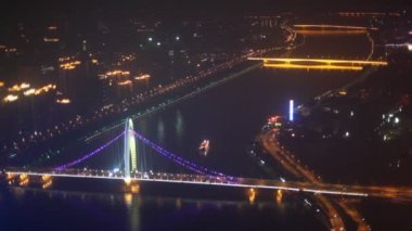 Aerial night view of Jiefang bridge — Stock Video