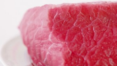 Fresh red uncooked meat — Stock Video