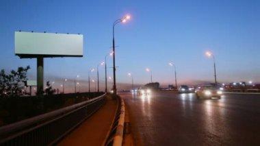 Empty advertising billboard on highway — Stock Video