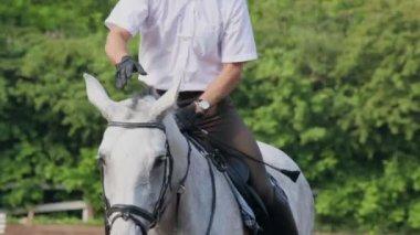 Jockey sits and lies on horseback — Stock Video