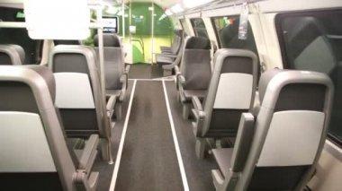 Empty salon of modern bus — Stock Video