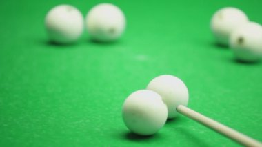Cue hits billiard ball — Stock Video