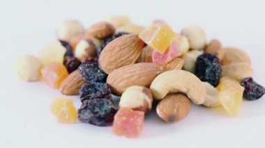 Nuts, dried fruits and candied fruits — Stock Video