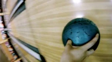 Man throws ball in bowls in bowling-bar — Stock Video