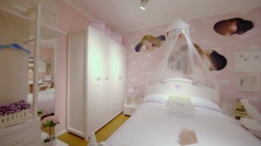 Girls bedroom with many furniture — Stockvideo
