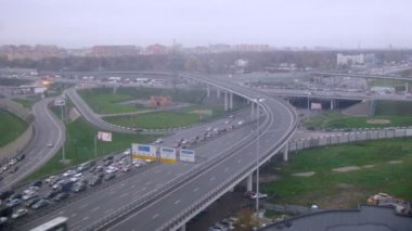 Moscow auto ring road with traffic — Stock Video
