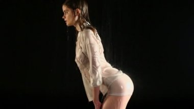 Wet sexy girl poses in underwear — Stock Video