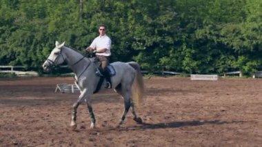 Horseman rides on horseback — Stock Video