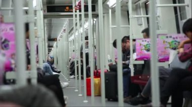 People riding in subway train — Stock Video