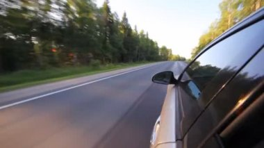 Car moves quickly on highway — Stock Video