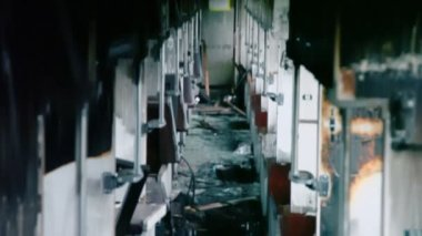 Passengers wagon of abandoned train — Stock Video