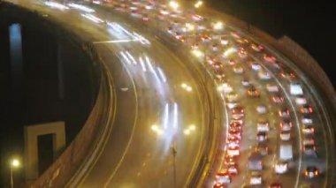 Illuminated bridge with traffic — Stock Video