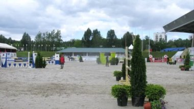 Horses overcome hurdles on international competitions — Wideo stockowe