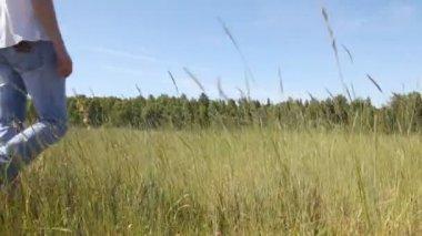 Guy goes in field — Stock Video