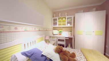 Girls bedroom with many furniture — Stock Video