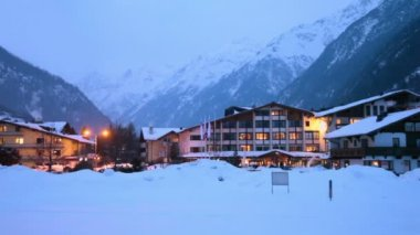 Hotels at ski resort village — Stock Video