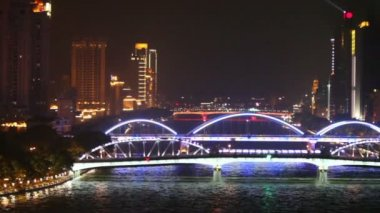 Haizhu bridge over Pearl river — Stock Video