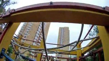 Boy rises on iron ladder — Stock Video
