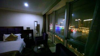 Vista del río de la perla a través de la ventana — Vídeo de Stock