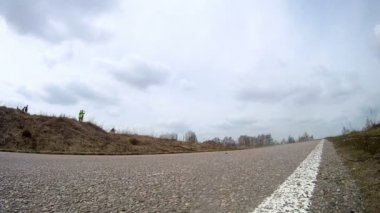 Uspenskiy rally technika car moving on road — Stock Video