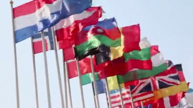 Nations flags on wind — Stock Video