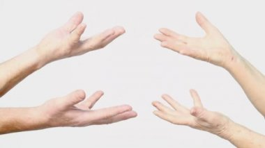 Senior hands show hold on palms gesture — Stock Video