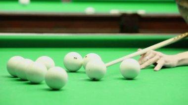Man hits billiard ball, — Stock Video