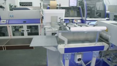 Printing conveyor for publishing industry — Stock Video