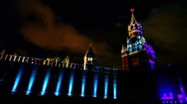 Spasskaya tower and Kremlin wall — Stock Video
