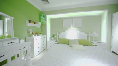 Females bedroom in green colors — Stock Video