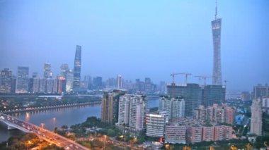 Evening panorama of Guangzhou — Vidéo