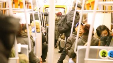 People in train carriage in subway — Stock Video
